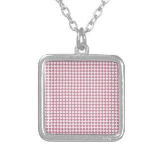 Rhombus - cordón rosado y Puce Collar Personalizado