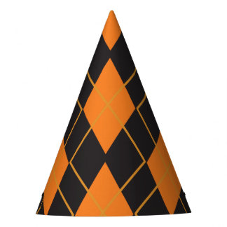 Rhombus geometric orange and black Halloween Party Hat