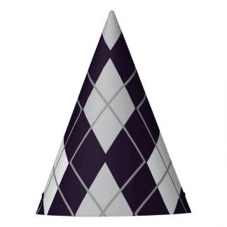 Rhombus geometric purple and white Halloween Party Hat