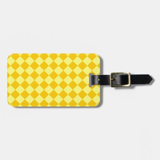 Rhombus grandes - amarillo y amarillo de la mandar etiquetas de maletas