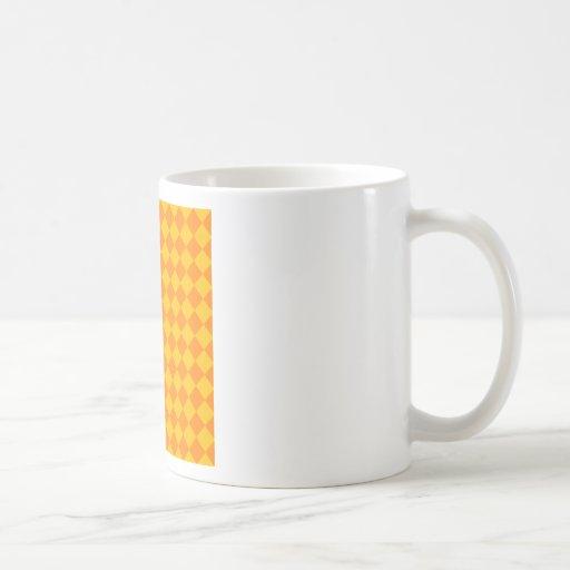 Rhombus grandes - naranja y ámbar tazas