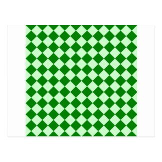 Rhombus grandes - Offwhitegreen y verde Tarjetas Postales