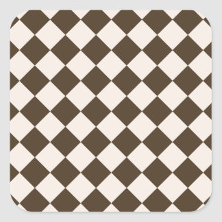 Rhombuses Large - Almond and Cafe Noir Square Sticker