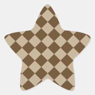 Rhombuses Large - Khaki and Dark Brown Sticker