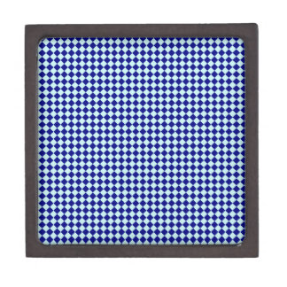 Rhombuses - Pale Blue and Navy Blue Premium Trinket Box