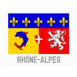 Rhône-Alpes flag with name Postcard