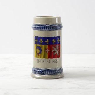 Rhône Alpes que agita la bandera con nombre Tazas De Café