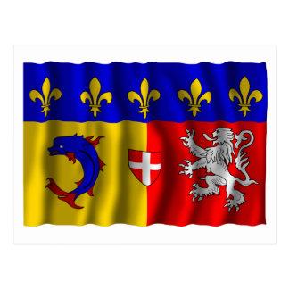 Rhône-Alpes waving flag Postcard