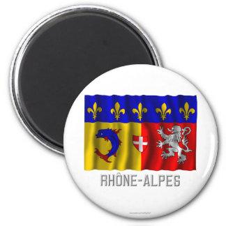 Rhône-Alpes waving flag with name 2 Inch Round Magnet