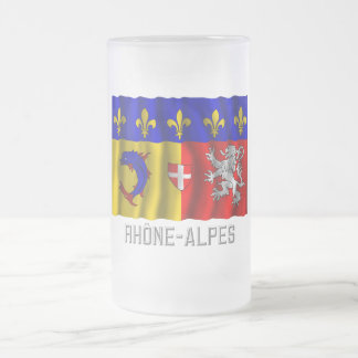 Rhône-Alpes waving flag with name Frosted Glass Beer Mug