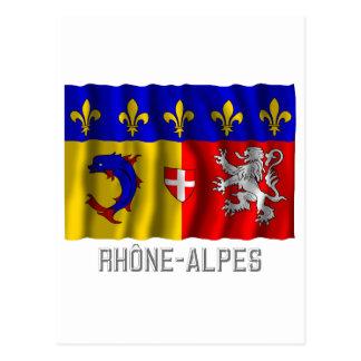 Rhône-Alpes waving flag with name Postcard