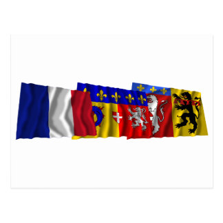 Rhône, Rhône-Alpes & France flags Postcard