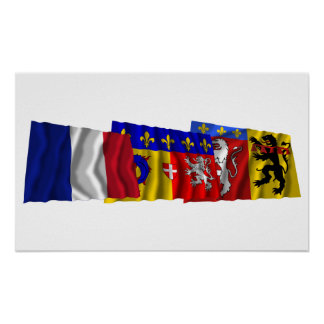 Rhône, Rhône-Alpes & France flags Poster