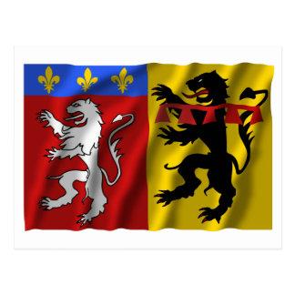 Rhône waving flag postcard