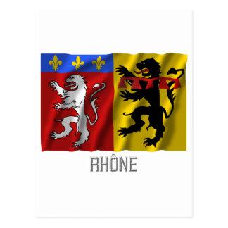 Rhône waving flag with name postcard