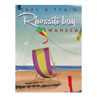 Rhossili bay, Swansea vintage travel poster