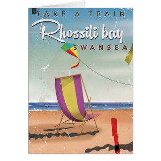 Rhossili bay, Swansea vintage travel poster Card