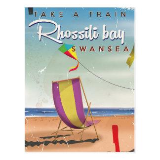 Rhossili bay, Swansea vintage travel poster Postcard