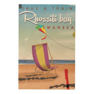 Rhossili bay, Swansea vintage travel poster Wood Print