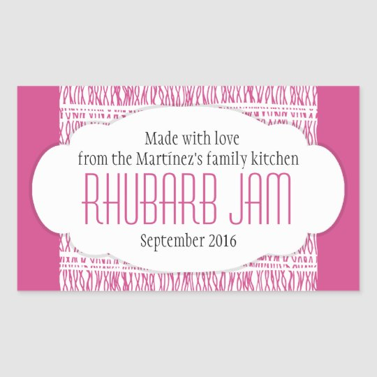 Rhubarb jam food label sticker