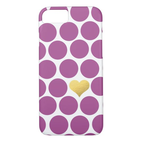 Rhubarb Purple Polka Dot Gold Foil Heart iPhone Phone Case