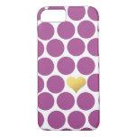 Rhubarb Purple Polka Dot Gold Foil Heart iPhone iPhone 8/7 Case