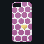 "Rhubarb Purple Polka Dot Gold Foil Heart iPhone iPhone 8/7 Case<br><div class=""desc"">Rhubarb Purple Polka Dots with one Heart filled with Gold Foil (Note: Gold Foil is not a real foil it is a digital image). If you would like a different color please email paula@labellarue.com before placing an order. Thanks for looking!</div>"