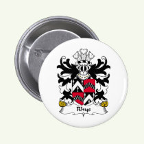 Rhys Family Crest Button