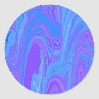 Rhythm of Color Abstract Art in Purple and Blue Classic Round Sticker