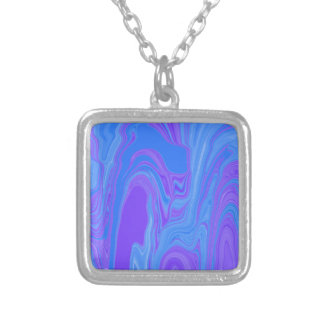 Rhythm of Color Abstract Art in Purple and Blue Square Pendant Necklace