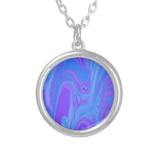 Rhythm of Color Abstract Art in Purple and Blue Round Pendant Necklace