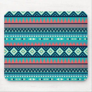 Rhythmic Blues Tribal Geometric Pattern Mouse Pad