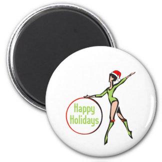 Rhythmic Gymnastics Happy Holidays 2 Inch Round Magnet