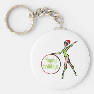 Rhythmic Gymnastics Happy Holidays Basic Round Button Keychain