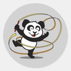 Round Sticker with Cute Rhythmic Gymnastics Panda design