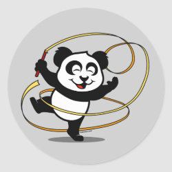 Round Sticker with Cute Rhythmic Gymnastics Panda design