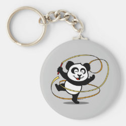 Basic Button Keychain with Cute Rhythmic Gymnastics Panda design