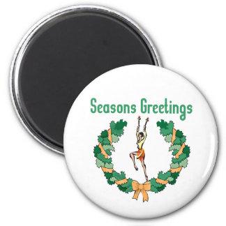 Rhythmic Gymnastics Seasons Greetings 2 Inch Round Magnet