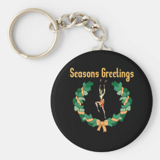 Rhythmic Gymnastics Seasons Greetings Keychain