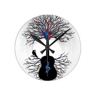 Rhythms of the Heart - ( surreal guitar art ) Round Clock