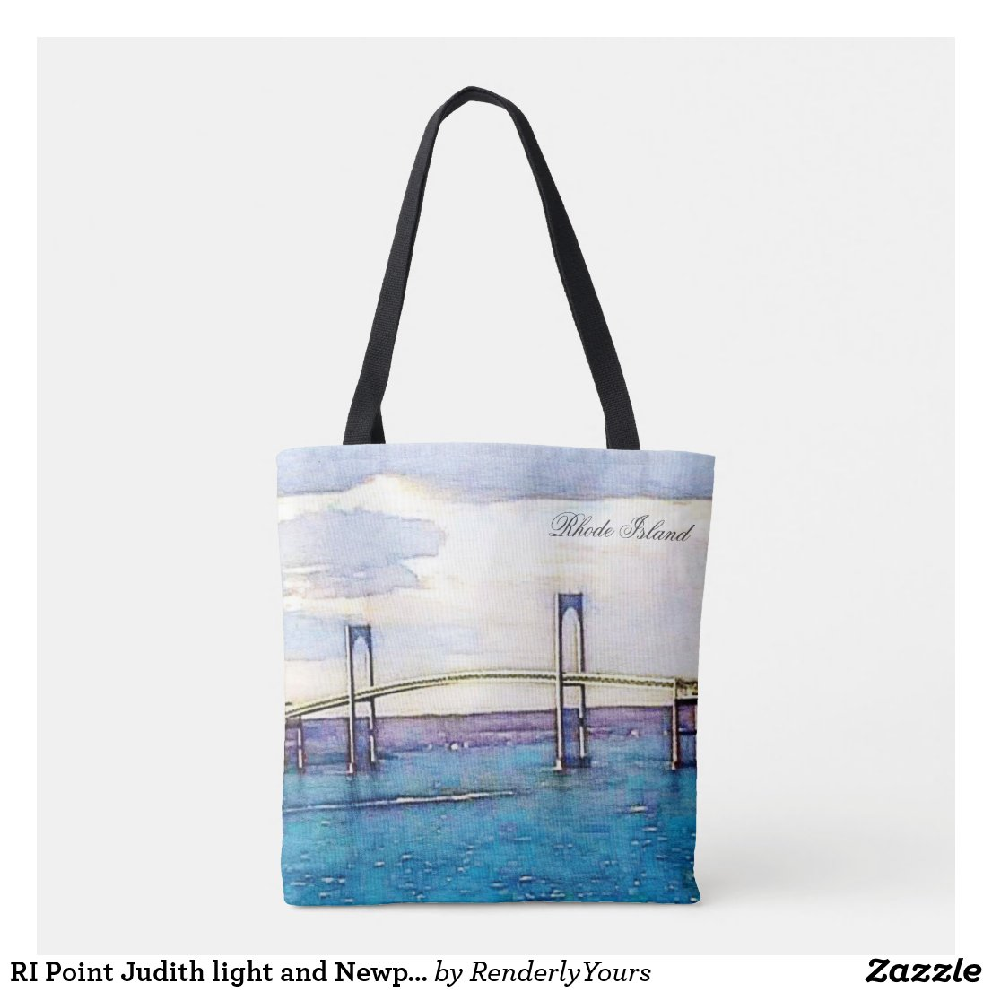 RI Point Judith light and Newport Bridge tote