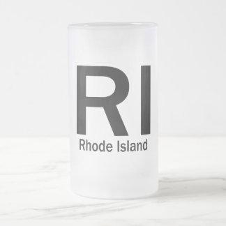 RI Rhode Island plain black Frosted Glass Beer Mug