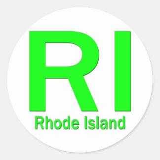 RI Rhode Island plain green Classic Round Sticker