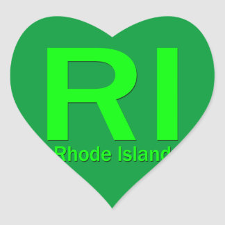RI Rhode Island plain green Heart Sticker
