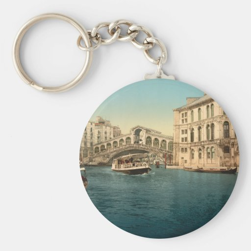Rialto Bridge and Grand Canal, Venice, Italy Basic Round Button Keychain