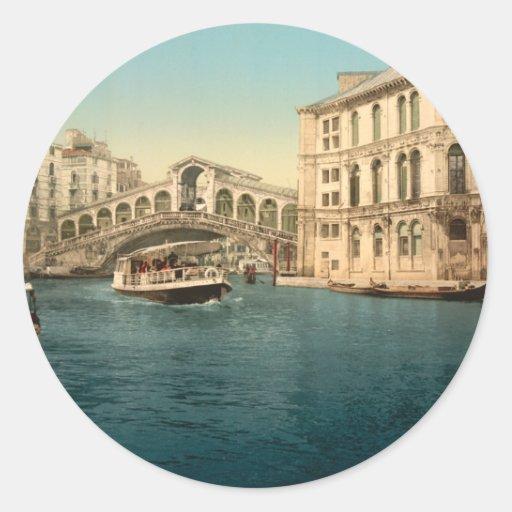 Rialto Bridge and Grand Canal, Venice, Italy Classic Round Sticker
