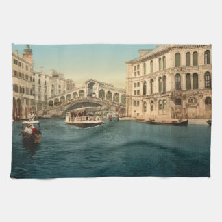 Rialto Bridge and Grand Canal, Venice, Italy Kitchen Towel