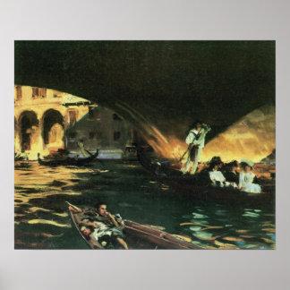 Rialto Bridge, Grand Canal by Sargent, Vintage Art Poster