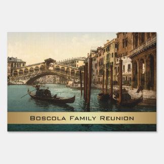 Rialto Bridge I, Venice, Italy Family Reunion Yard Sign