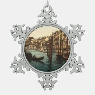 Rialto Bridge I, Venice, Italy Snowflake Pewter Christmas Ornament
